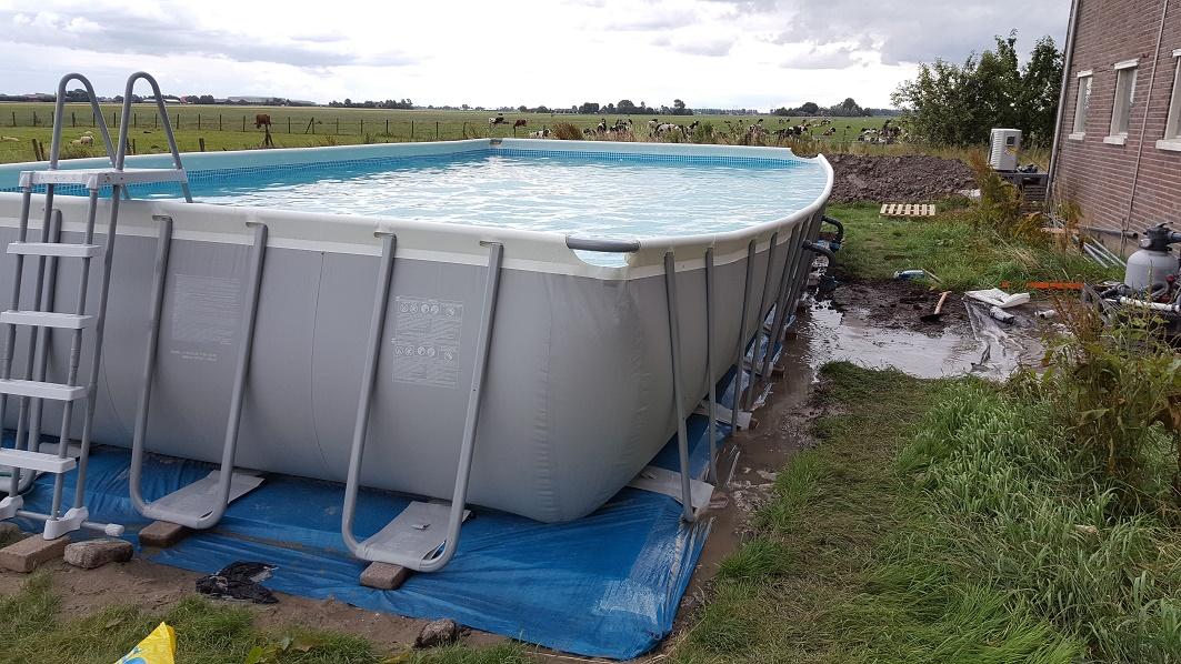 Pech bij opbouw intex ultra frame zwembad forum for Ondergrond zwembad tuin